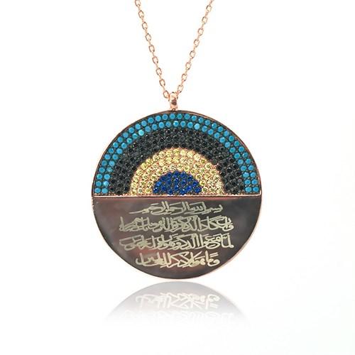 İndigo Nazar Duası Gümüş Kolye