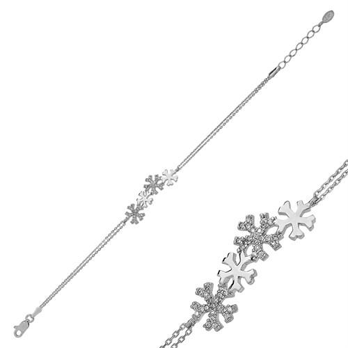 Tekbir Silver Gümüş Kar Taneleri Bileklik