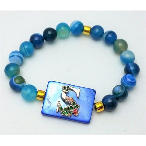 Cecilia Collection S Harfli Mavi Akik Ve Sedef Doğal Taş Bayan Bileklik