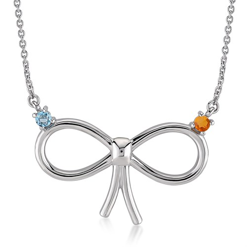 Melin Paris Blue Topaz Ve Citrine Fiyonk Kolye