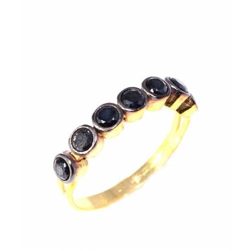 Nusret Takı 925 Ayar Gümüş 7 Taş Yüzük Sarı - Siyah Zirkon