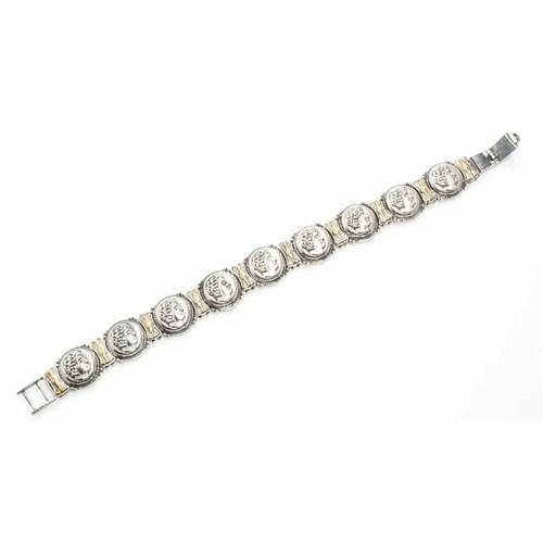 Nusret Takı 925 Ayar Gümüş Ve Bronz Karışımı İskender Desenli Bileklik