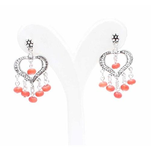Nusret Takı 925 Ayar Gümüş Kalp Modeli Mercan Taşlı Telkari Küpe