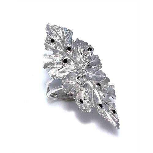 Nusret Takı 925 Ayar Gümüş Yaprak Siyah Zirkon Taşlı Yüzük