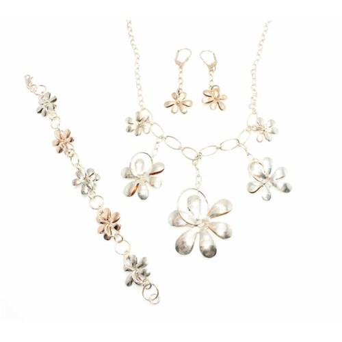 Nusret Takı 925 Ayar Gümüş Elişi Çiçekli Set