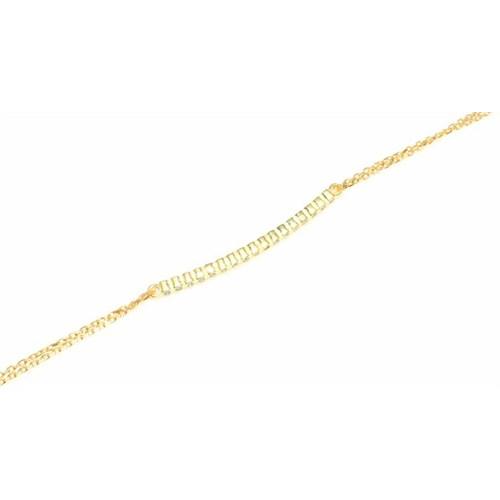 Nusret Takı 925 Ayar Gümüş Su Yolu Bileklik Sarı - Beyaz Taş