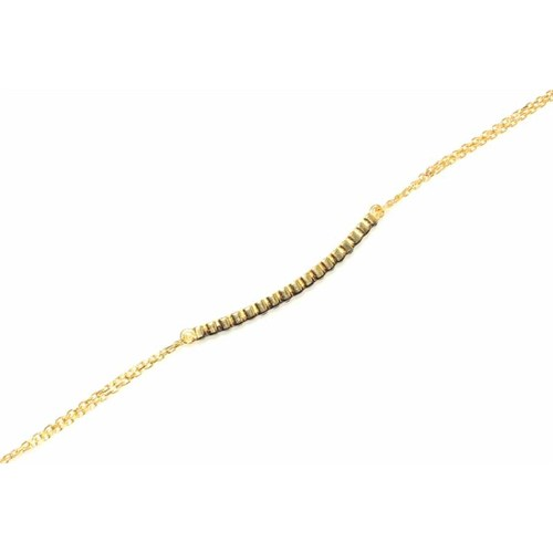 Nusret Takı 925 Ayar Gümüş Su Yolu Bileklik Sarı - Siyah Taş