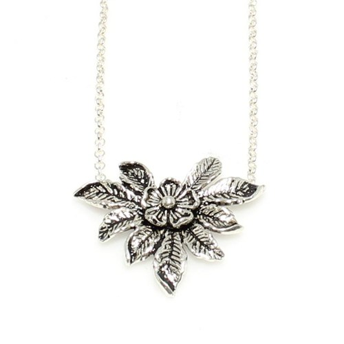 Nusret Takı 925 Ayar Gümüş Çiçek Modeli Kolye