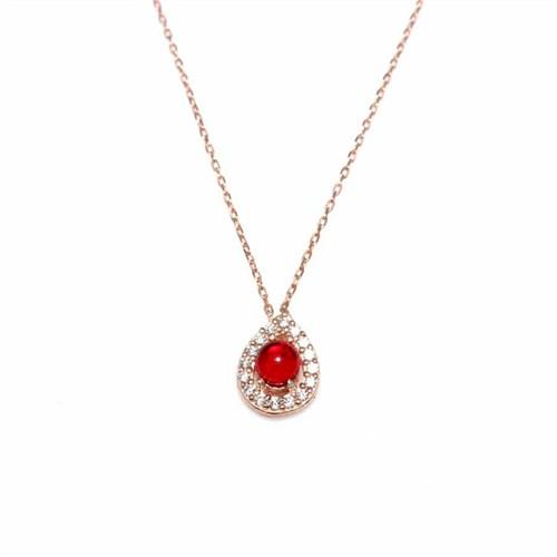 Nusret Takı 925 Ayar Gümüş Damla Kolye Pembe - Beyaz Zirkon Kırmızı Rubilant