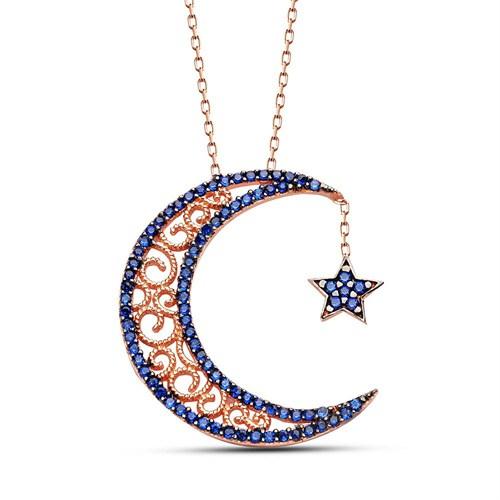 Tesbihane 925 Ayar Gümüş Mavi Zirkon Taşlı Ay Ve Yıldız Kolye