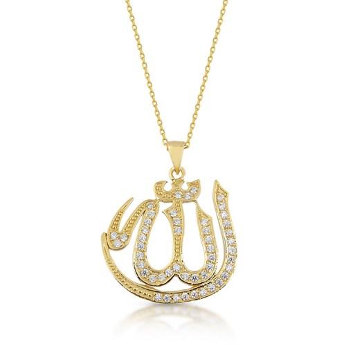 Goldstore 14 Ayar Altın Allah Yazısı Kolye Gp39894