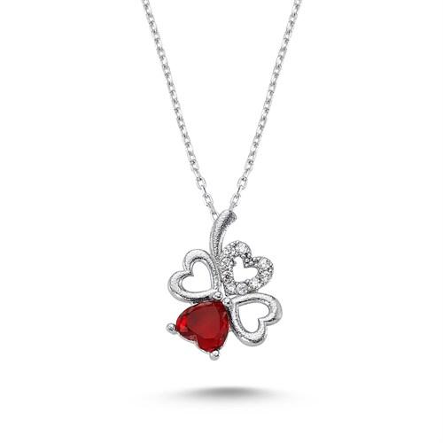 Silver & Silver Kırmızı Kalpli Yonca Kolye