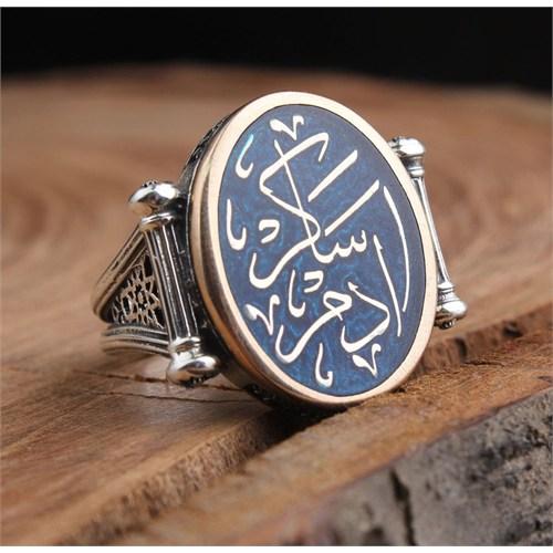 Tesbihevim İsme Özel Hat Sanatı İle Eski Osmanlıca Yazılı Gümüş Yüzük