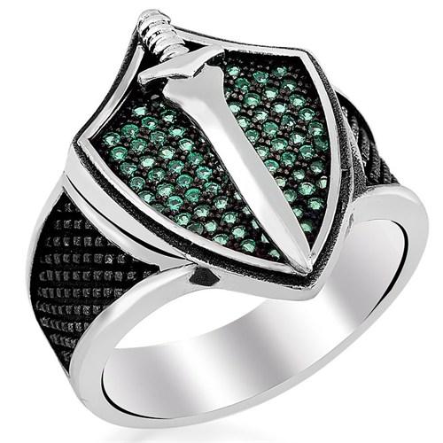 Tesbihevim Yeşil Zirkon Taşlı Hançer Simgeli Erkek Gümüş Yüzük