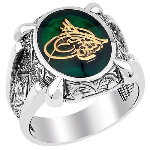 Tesbihevim Osmanlı Tuğralı Yeşil Mineli Erkek Gümüş Yüzük