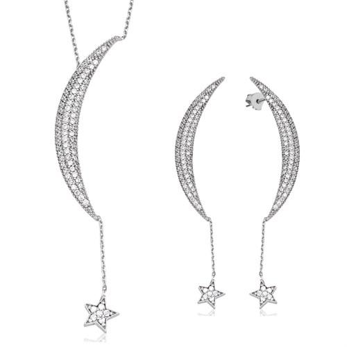 Tekbir Silver Gümüş Ay Yıldız Set