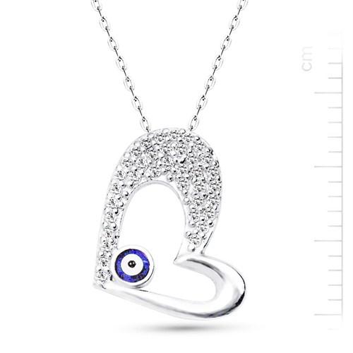 Bella Gloria Altın Kaplamalı Gümüş Nazarlı Kalp Kolye (GK00158)