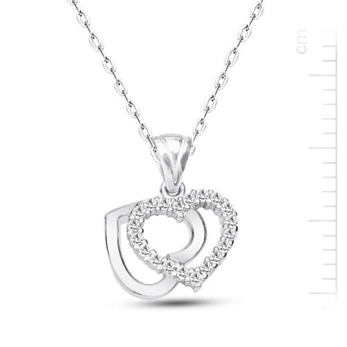 Bella Gloria Altın Kaplamalı Gümüş Çift Kalp Kolye (GK00168)