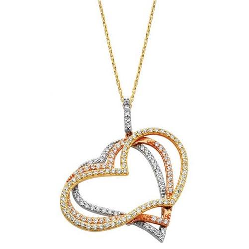 Nusret Takı 14 Ayar Altın Kalpler Modeli Kolye