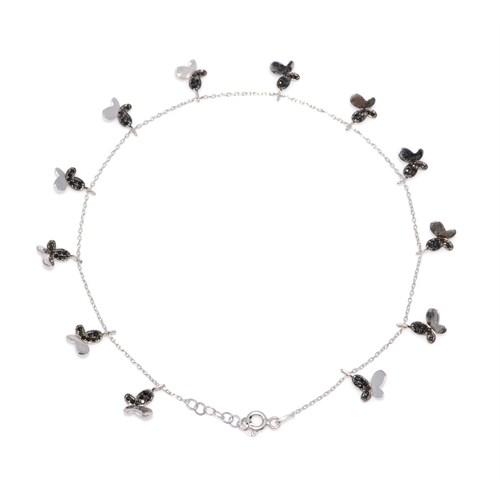 Nusret Takı 925 Ayar Gümüş Halhal Bileklik 12 Kelebekli Beyaz - Siyah Taş