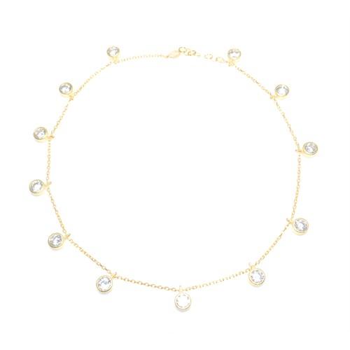 Nusret Takı 925 Ayar Gümüş Halhal Bileklik 12 Taşlı Sarı - Beyaz Taş