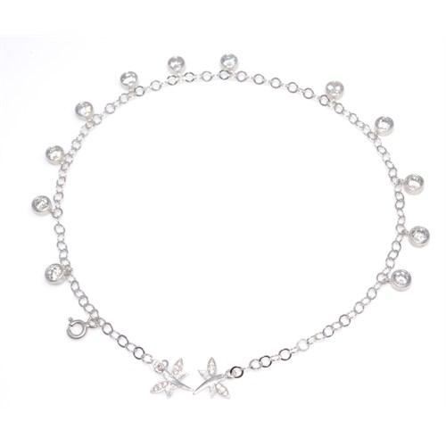Nusret Takı 925 Ayar Gümüş Halhal Bileklik 12 Taşlı Beyaz - Beyaz Taş