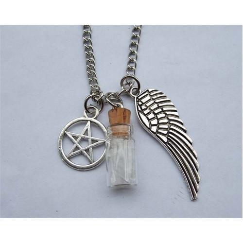 Köstebek Supernatural Wings And Pentagram And Salt Bottle Kolye
