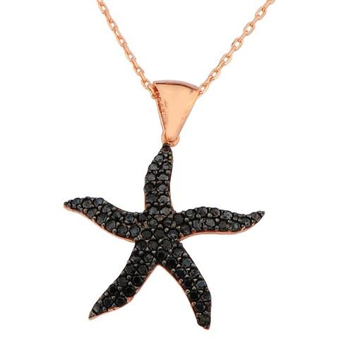 Argentum Concept Siyah Taşlı Deniz Yıldızı Kolye