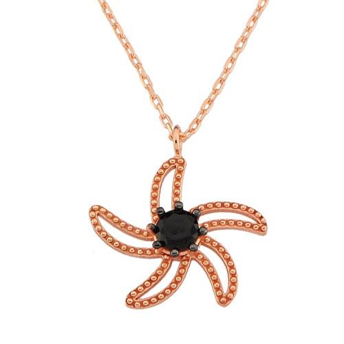 Argentum Concept Siyah Taşlı Rose Deniz Yıldızı Kolye