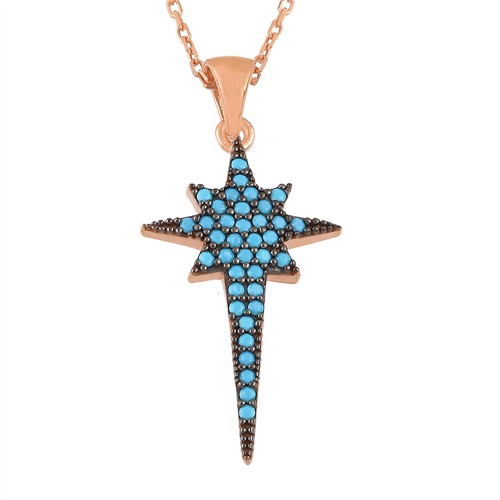 Argentum Concept Mavi Taşlı Kutup Yıldızı Kolye