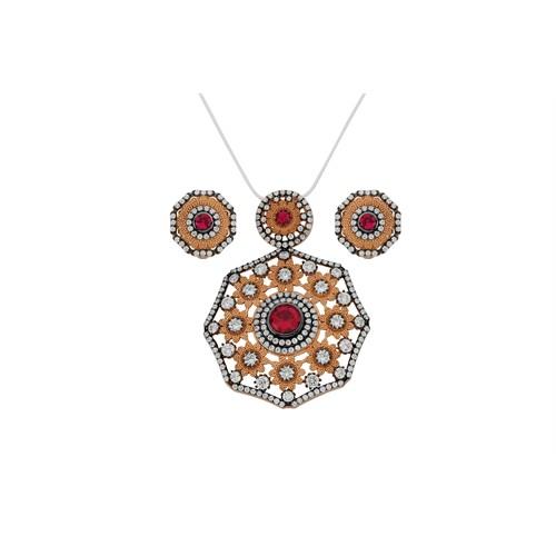 Argentum Concept Zirkon Taşlı Rose Gümüş Set