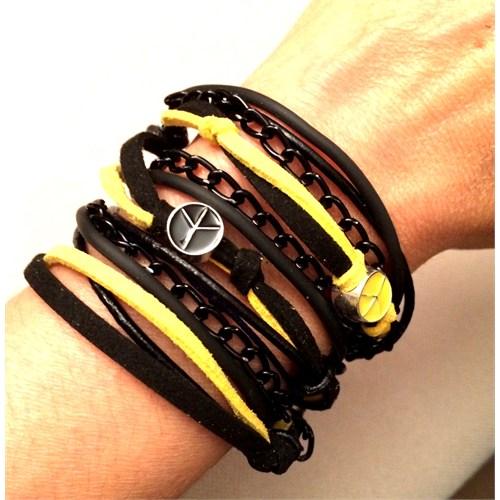 Betico Fashion Sarı & Turuncu Sarı Siyah Aşkı Bileklik