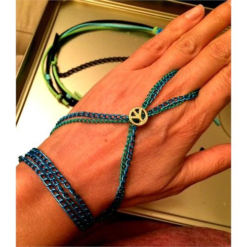 Betico Fashion Mavi Yeşil Barış Wrap Şahmeran