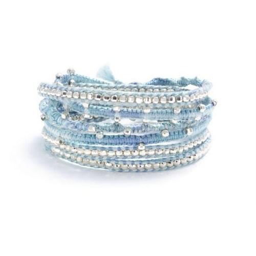 Betico Fashion Mavi Mavi Pamuklu Dokuma Ve Gümüş Ile El Yapımı Dolama Bileklik