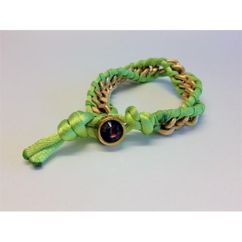 Betico Fashion Yeşil Zincirli Örgü Bileklik