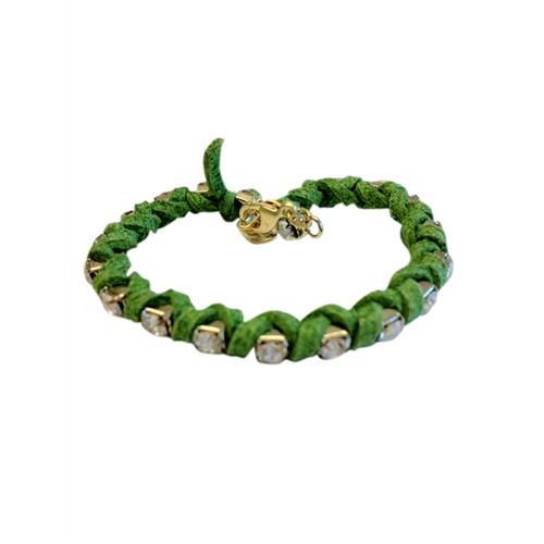 Betico Fashion Yeşil Taşlı Süet Bileklik