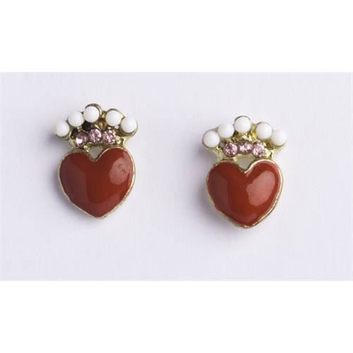 Betico Fashion Kırmızı Taşlı Kalpli Küpe