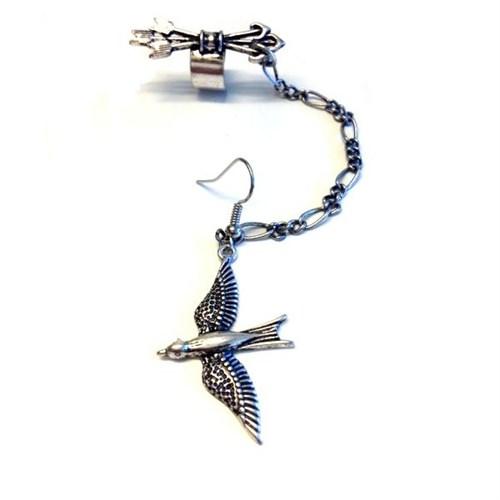 Betico Fashion Gümüş Kuşlu Vintage Küpe