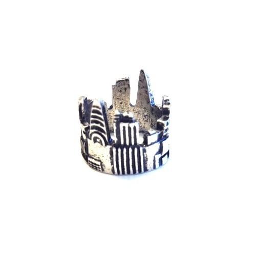 Betico Fashion Gümüş Şehir Yüzük