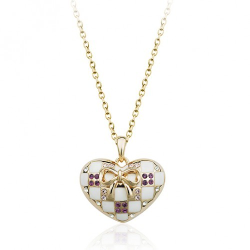 Betico Fashion Beyaz Damalı Kalp Kolye