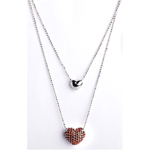 Betico Fashion Kırmızı Çift Kalpli Kristal Kolye