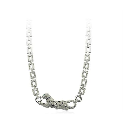 Betico Fashion Gümüş Leopar Kolye