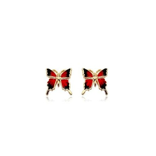 Betico Fashion Kırmızı Mini Kelebek Küpe