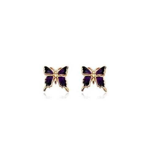 Betico Fashion Mor Mini Kelebek Küpe