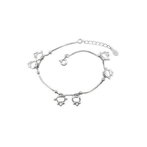 Betico Fashion Gümüş Minik Melekler Bileklik