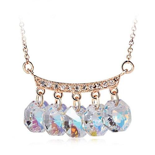 Betico Fashion Altın 5Li Kristal Kolye