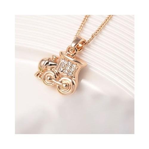 Betico Fashion Rose Gold Kristal Taşlı Çufçuf Kolye