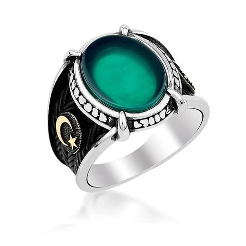 Mina Silver Pençeli Yeşil Akik Ayyıldız Gümüş Taşlı Erkek Yüzük