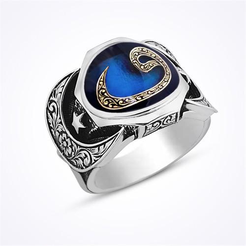 Mina Silver Arapça Vav Harfi Ayyıldız Taşsız Gümüş Erkek Yüzük