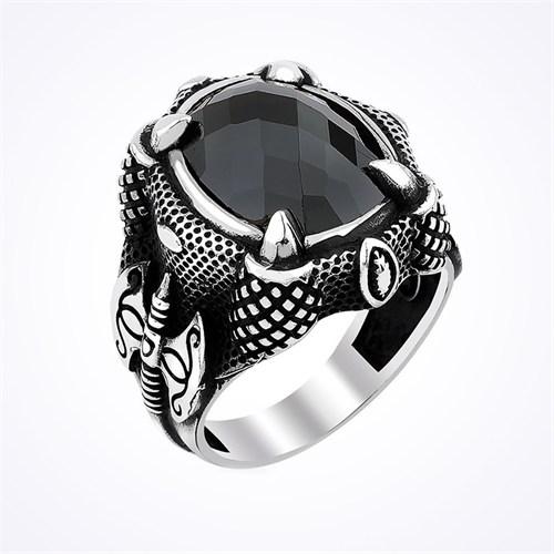 Mina Silver Oval Siyah Taşlı Baltalı Pençe Gümüş Erkek Yüzük